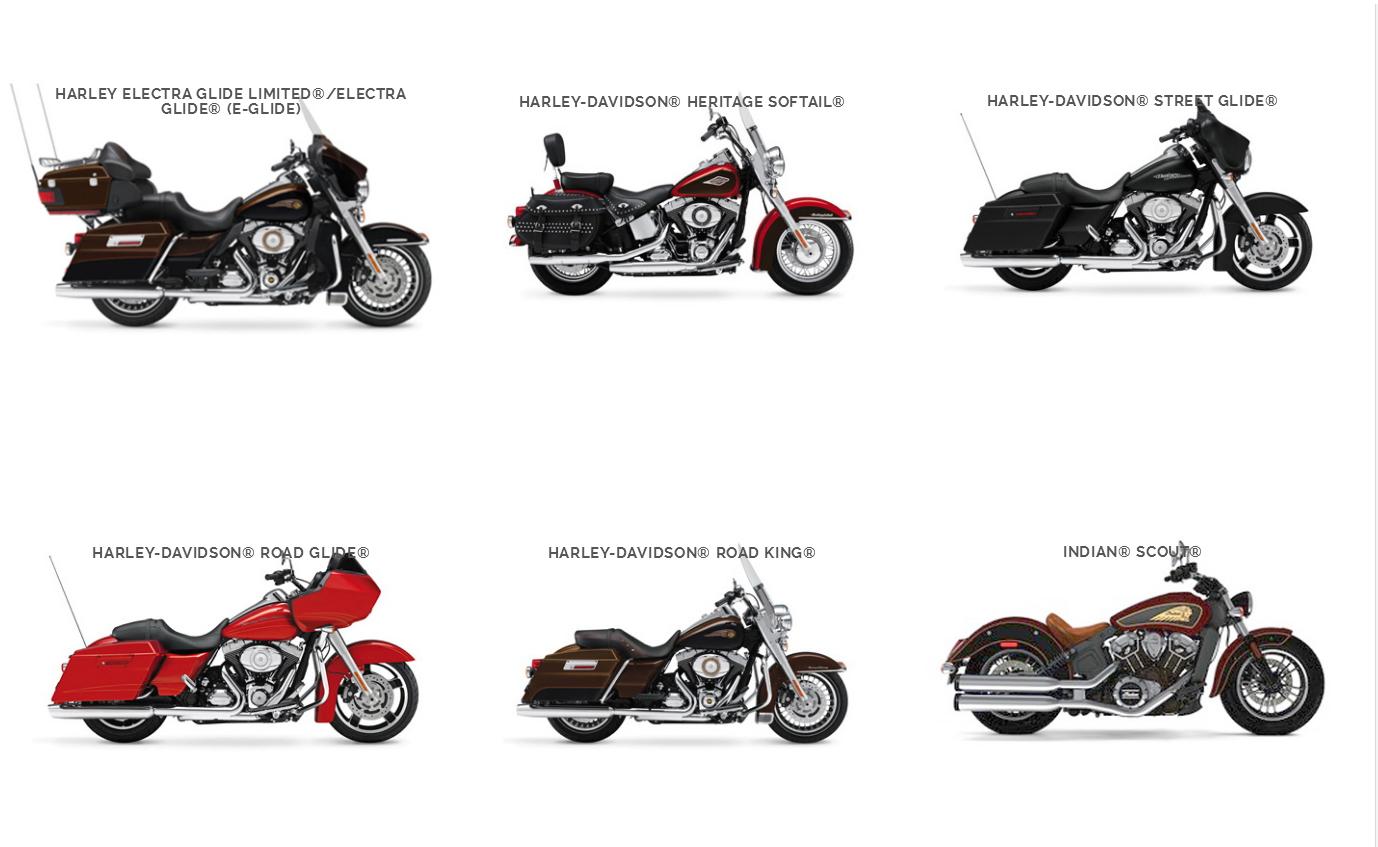 Motorrad-Auswahl 2018 - Harley Touren USA
